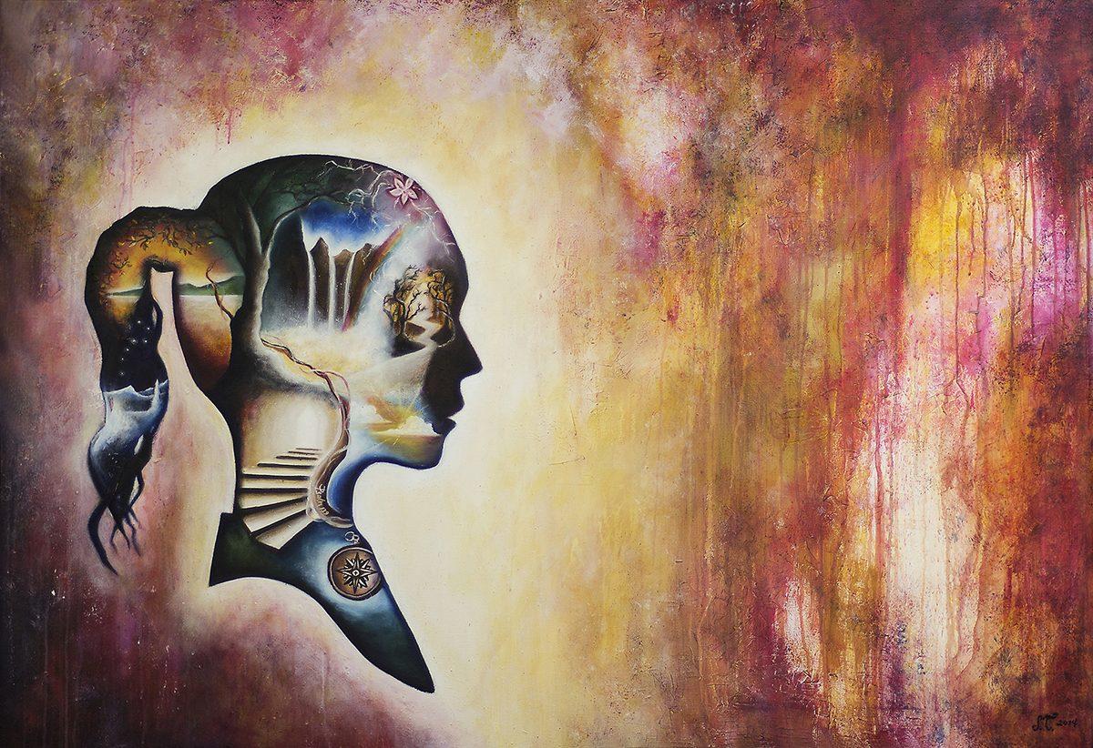 """Vuoden 2014 lopputyönäyttelyyn toteutettu suurikokoinen maalaus """"Sinä olet ihme""""."""