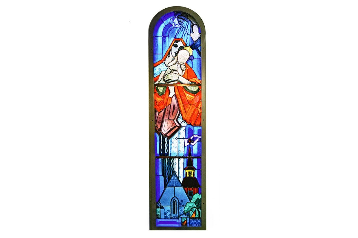 Jeesus ja Maria lasimaalaukseen kuvattuna.