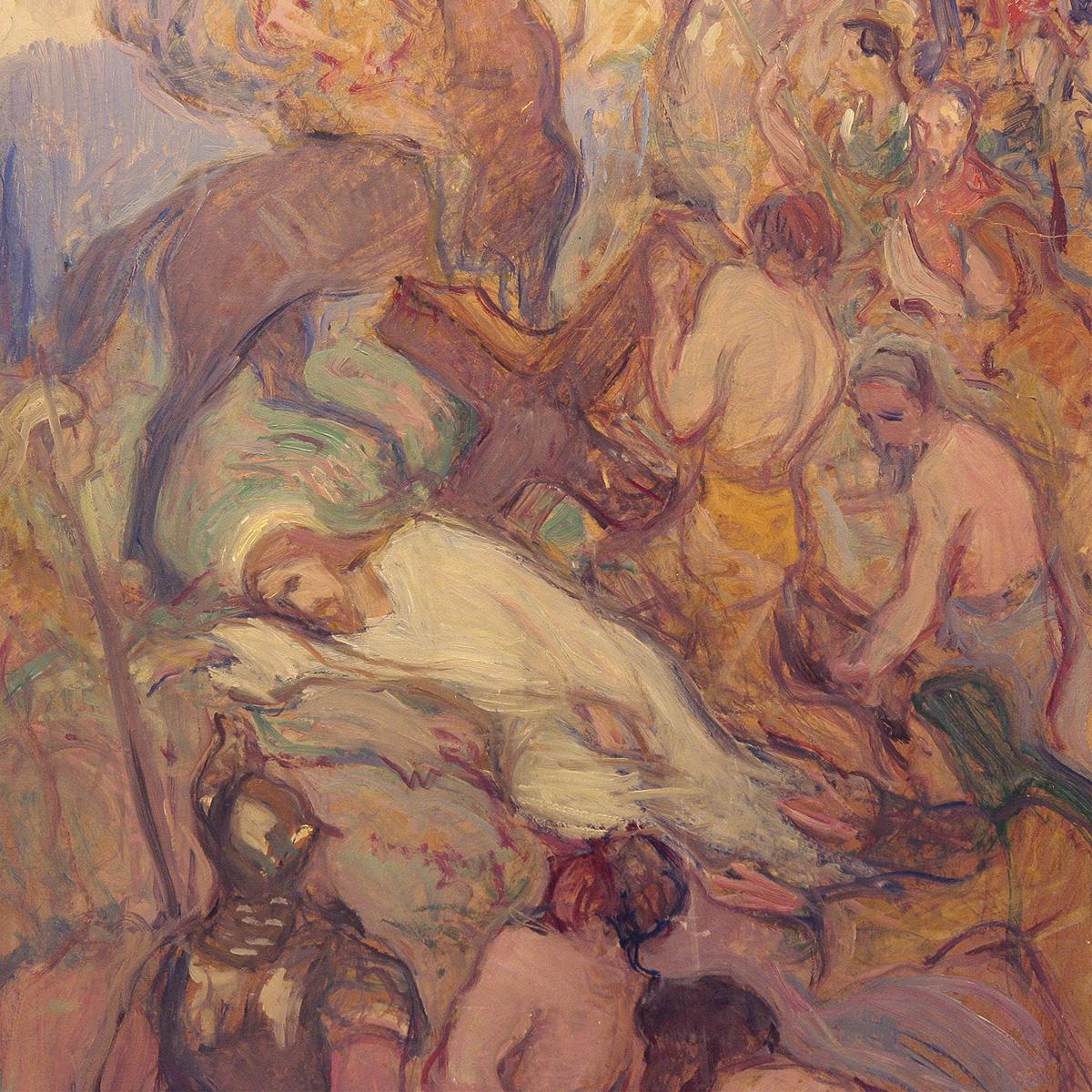 ilho Sjöström (1873–1944): Golgata, yksityiskohta, 1914, öljy kovalevylle.