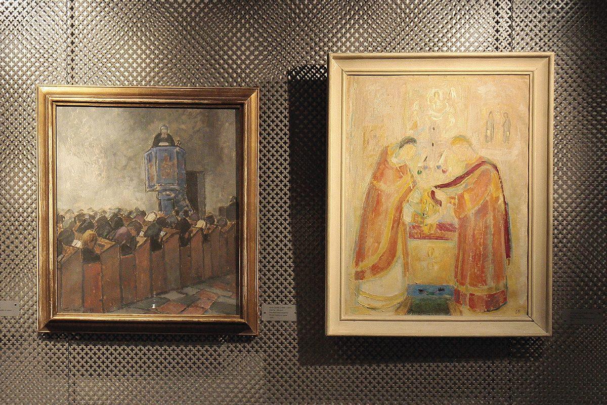 Alvar Cawén (1886–1935): Saarna, 1929, sekatekniikka paperille; Ina Colliander (1908–1985): Liturgia, 1947, öljy kankaalle.